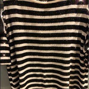 Chico's black and white stripe sequin top